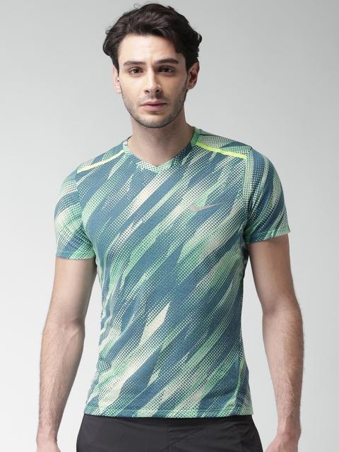 Nike Men Green AS M NK BRTHE Printed V-Neck T-shirt