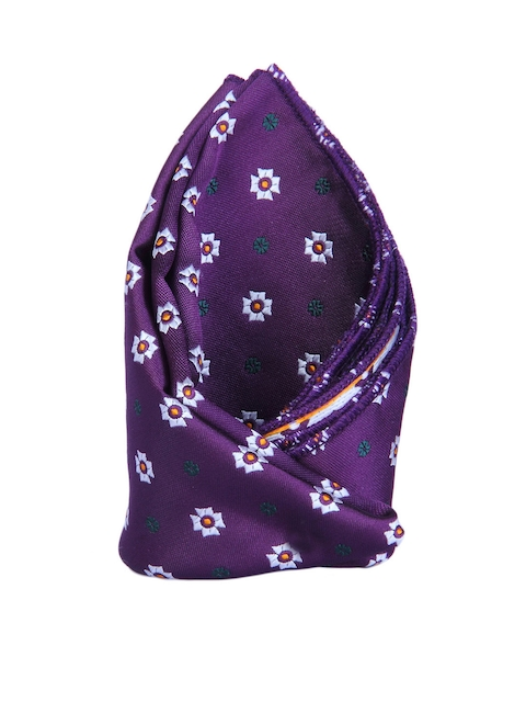 Tossido Purple Floral Patterned Pocket Square