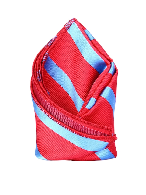 Tossido Red & Blue Striped Pocket Square