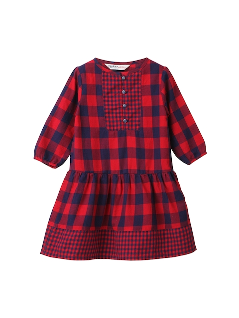 Beebay Girls Red & Navy Checked Fit and Flare Dress