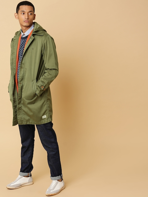 Mr Bowerbird Men Olive Green Longline Garment Dyed Jacket with Backpack Strap