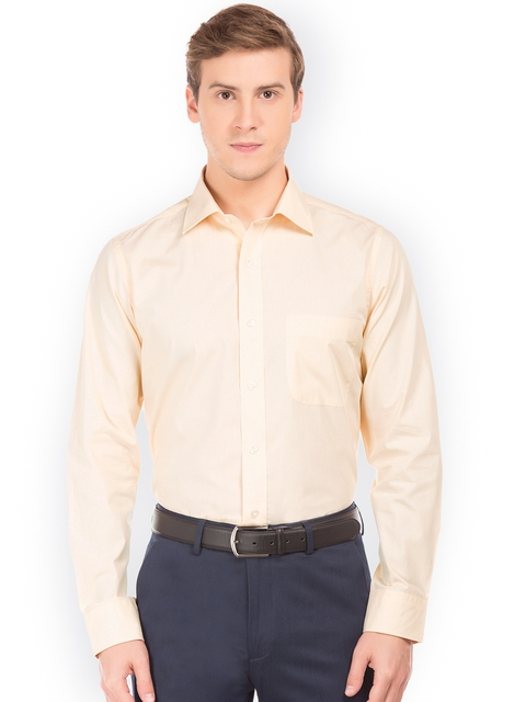 Arrow Men Beige Regular Fit Solid Casual Shirt