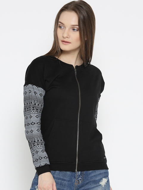 Roadster Women Black & Grey Solid Sweatshirt