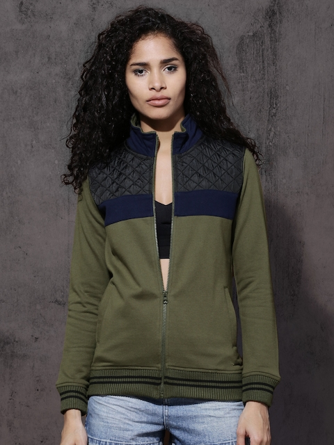 Roadster Women Olive Green Colourblocked Sweatshirt