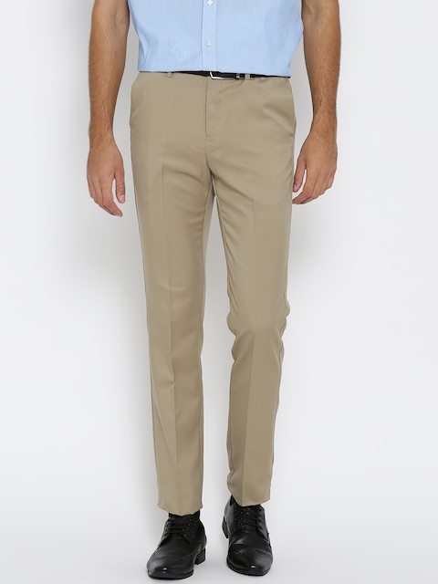 Arrow Men Khaki Tapered Fit Solid Formal Trousers