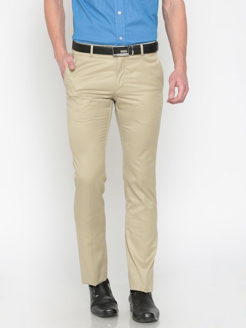 Arrow Men Beige Slim Fit Solid Regular Trousers