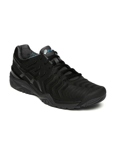 ASICS Men Black GEL-RESOLUTION 7 Tennis Shoes