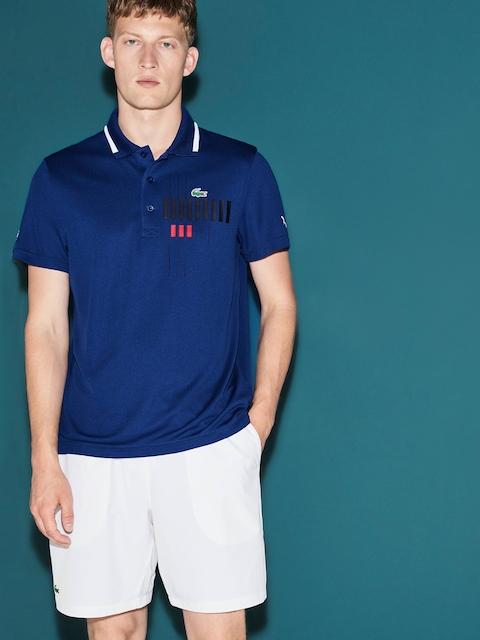 Lacoste Men Novak Djokovic Exclusive Blue Edition Printed Polo