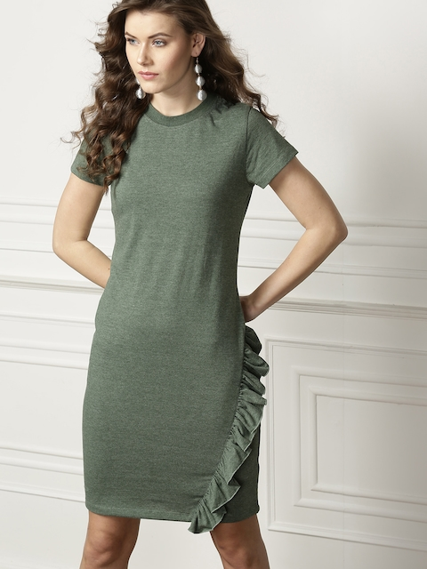 all about you Women Green Solid Shift Dress with Ruffles