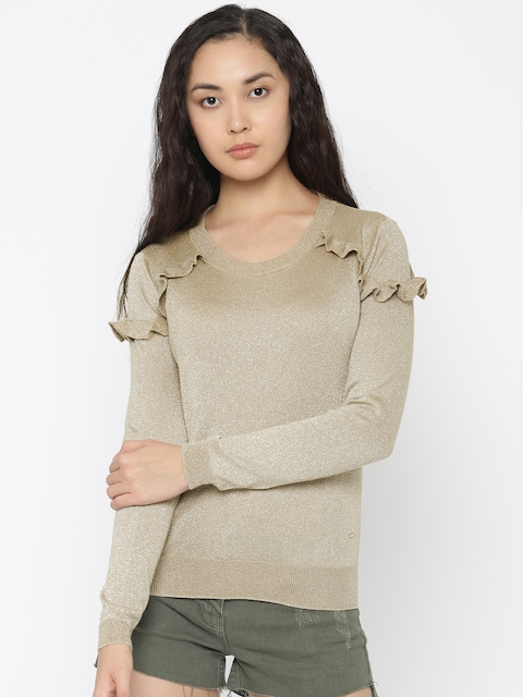 ONLY Women Beige Solid Pullover