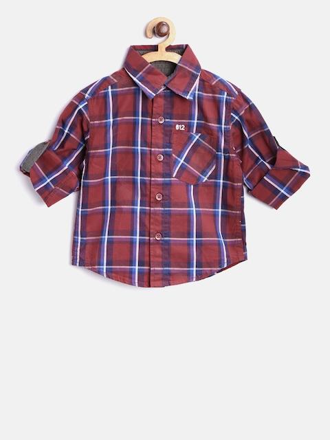 612 Ivy League Boys Maroon & Blue Checked Casual Shirt