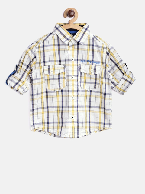 612 Ivy League Boys White & Yellow Checked Casual Shirt