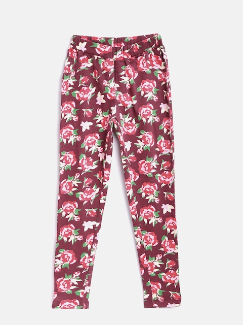 612 league Girls Burgundy & Pink Floral Print Treggings