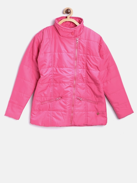 612 league Girls Pink Solid Puffer Jacket