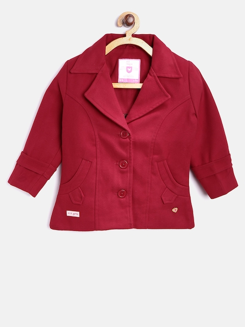 612 league Girls Maroon Solid Tailored Jacket
