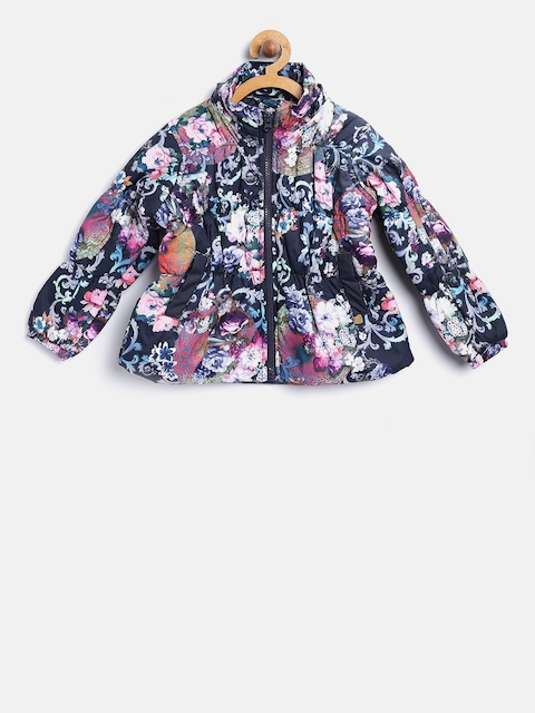 612 league Girls Navy Floral Print Puffer Jacket with Detachable Hood