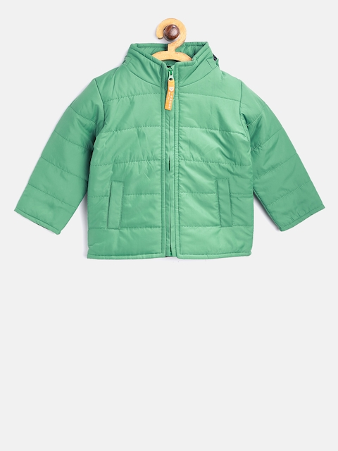 612 league Boys Green Solid Padded Jacket with Detachable Hood