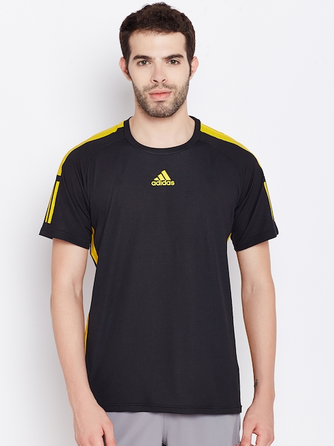 ADIDAS Men Black BARRICADE Solid Round Neck T-shirt