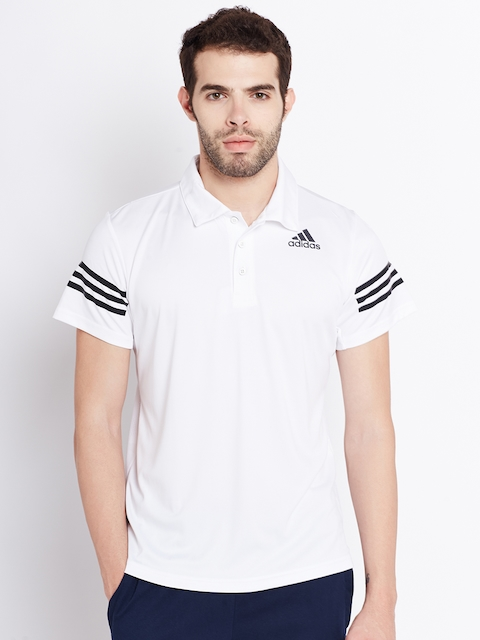 ADIDAS Men White Climacool Solid Polo Collar T-shirt