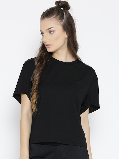 Adidas NEO Women Black CE CONT Solid Round Neck T-shirt