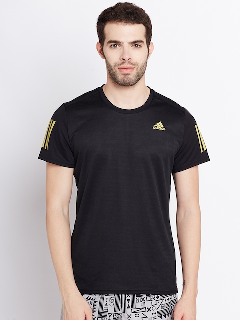 Adidas Men Black RS SS Round Neck T-shirt