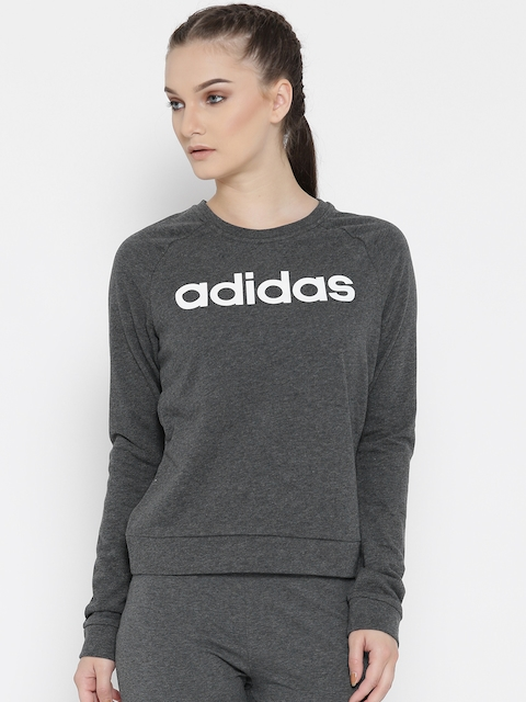 Adidas NEO Women Charcoal Grey CE FT Printed Sweatshirt