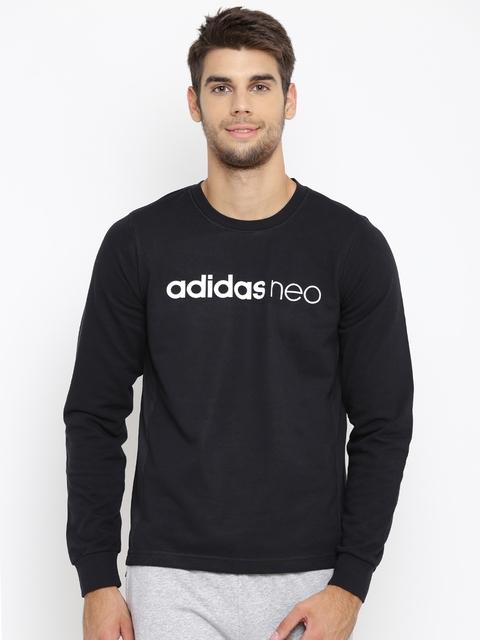 Adidas NEO Men Black FV FT Mesh Printed Sweatshirt