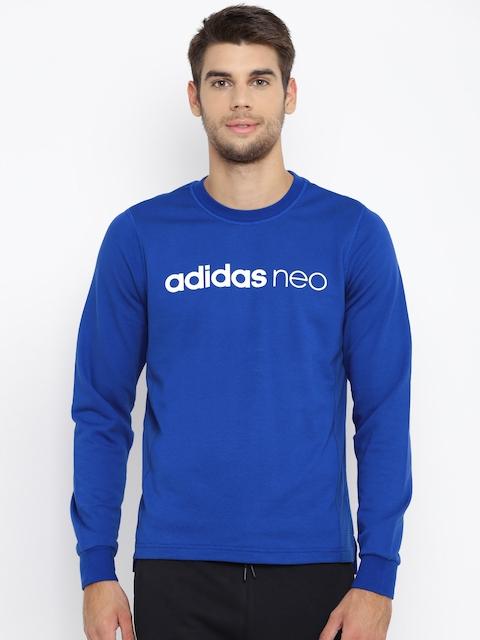 Adidas NEO Men Blue FV FT Mesh Printed Sweatshirt