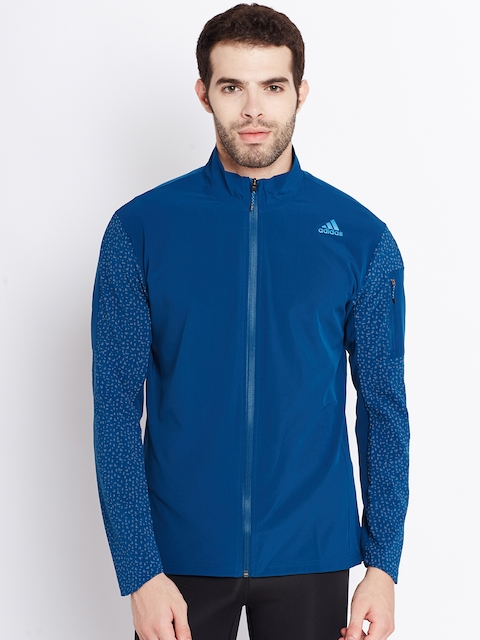 Adidas Men Teal Blue SN STM Solid Lightweight Running Jacket