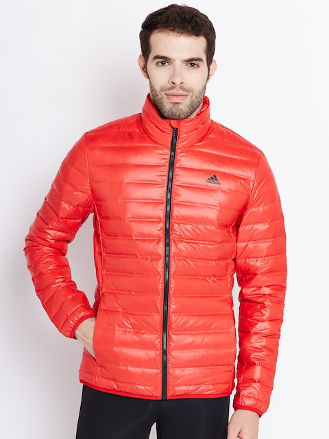 Adidas Men Red VARILITE Solid Insulator Quilted Jacket