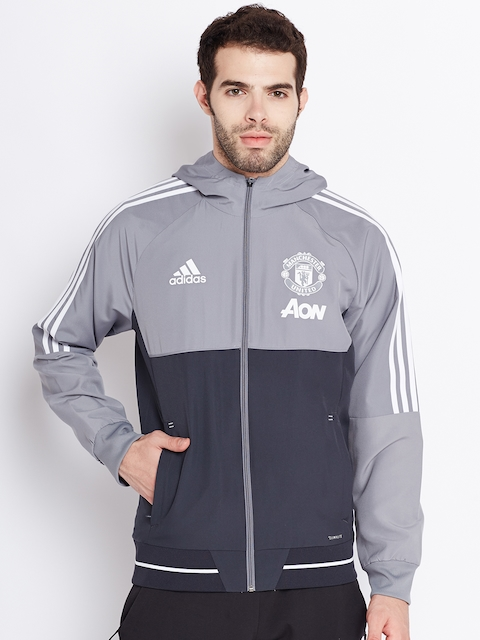 Adidas Men Grey Manchester United F.C. PRE Hooded Sporty Jacket