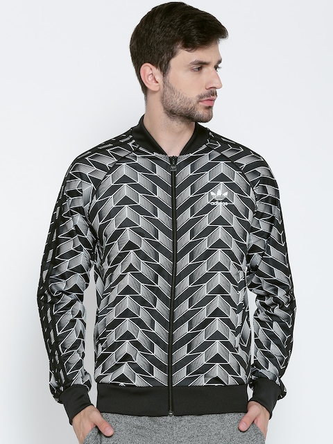 Adidas Originals Men Black & White Soccer SST Printed Sporty Jacket