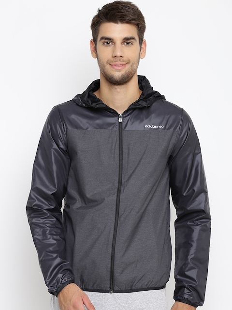 Adidas NEO Men Charcoal Grey CE WB Solid Hooded Sporty Jacket