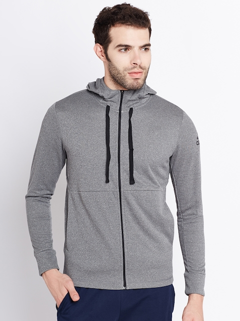 Adidas Men Grey Melange Workout FZ Lite Hooded Sporty Jacket