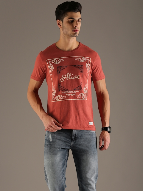 Flying Machine Men Rust Orange Printed Round Neck T-shirt