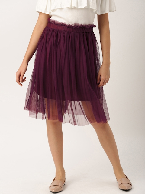 DressBerry Women Burgundy Net Skirt  available at myntra for Rs.599
