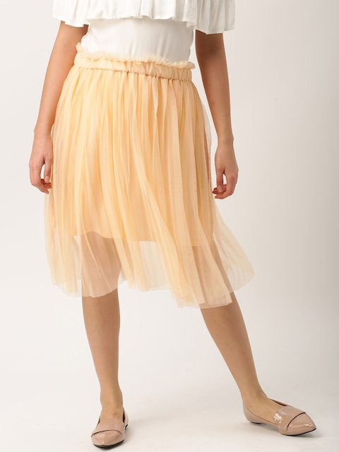 DressBerry Women Peach Net Skirt  available at myntra for Rs.599