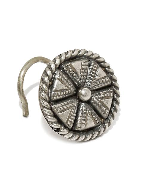 Quirksmith Oxidised Silver-Toned Clip-On Nosepin