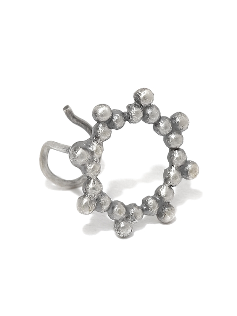 Quirksmith Oxidised Silver-Toned Circular Clip-On Nosepin