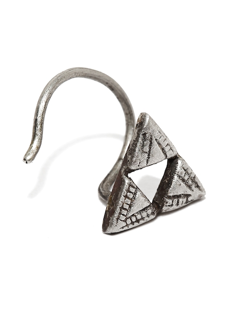 Quirksmith Oxidised Silver-Toned Pyramid-Shaped Clip-On Nosepin