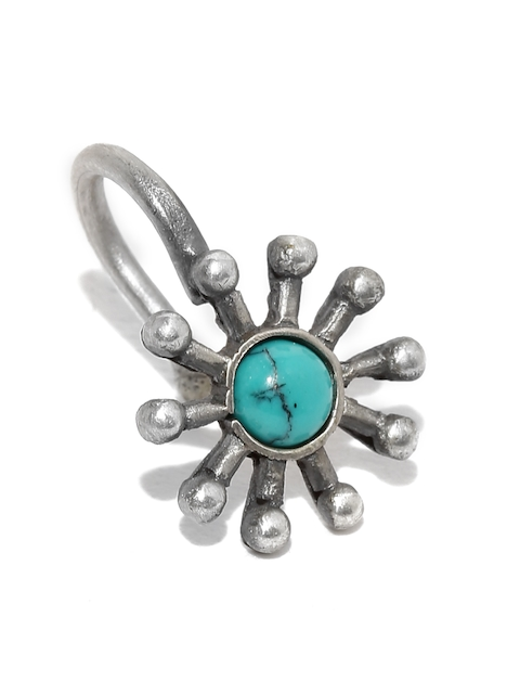 Quirksmith Oxidised Silver Flower-Shaped Nosepin