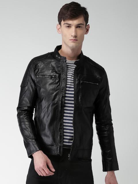 Celio Men Black Solid Biker Jacket