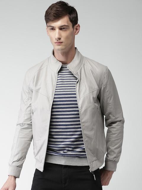 Celio Men Grey Solid Biker Jacket