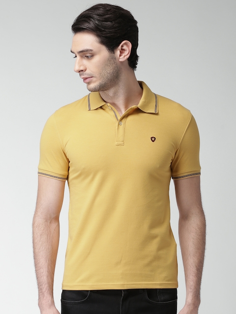 Celio Men Mustard Yellow Solid Polo Collar T-shirt  available at myntra for Rs.844