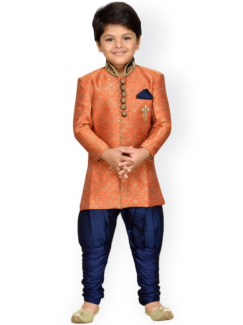 AJ Dezines Boys Orange & Navy sherwani  available at myntra for Rs.1749