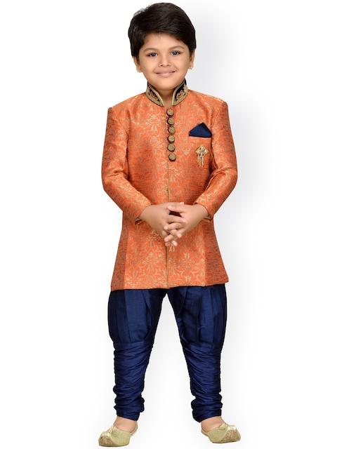 AJ Dezines Boys Orange & Navy Sherwani