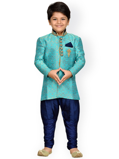 AJ Dezines Boys Turquoise Blue & Navy sherwani  available at myntra for Rs.1749