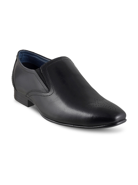 Metro Men Black Leather Semiformal Slip-Ons