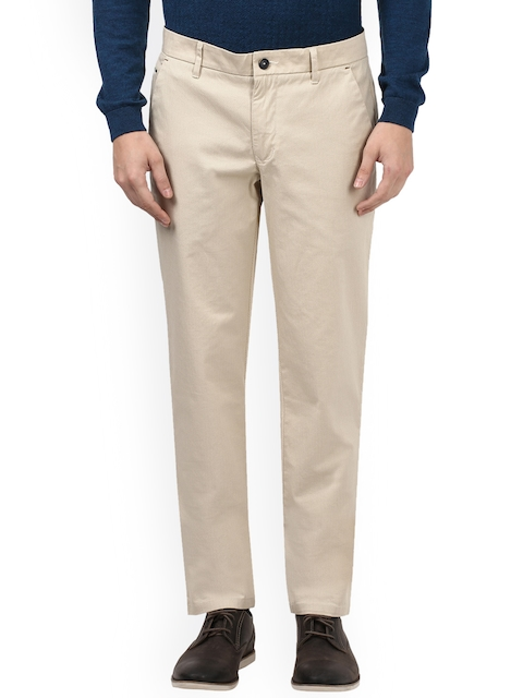 Park Avenue Men Beige Tailored Slim Fit Solid Chinos