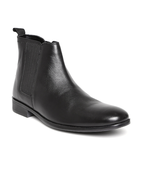 Red Tape Men Black Solid Leather High-Top Flat Boots